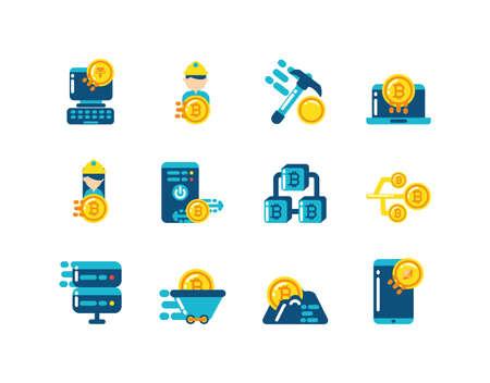 Icon set design of Cryptocurrency money currency exchange financial bank web internet market electronic finance and net theme Vector illustration Ilustração