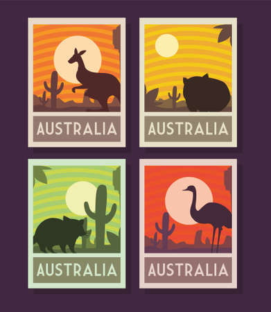 set of posters with australia animals vector illustration design
