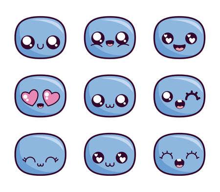 cartone animato faccia icona set design, espressione kawaii simpatico personaggio divertente e tema emoticon illustrazione vettoriale