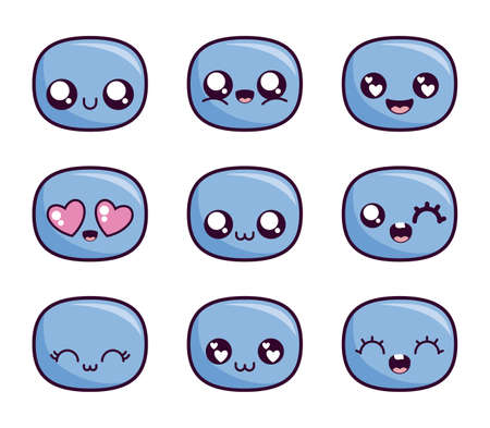 cartoon face icon set design, Kawaii expression cute character funny and emoticon theme Vector illustration
