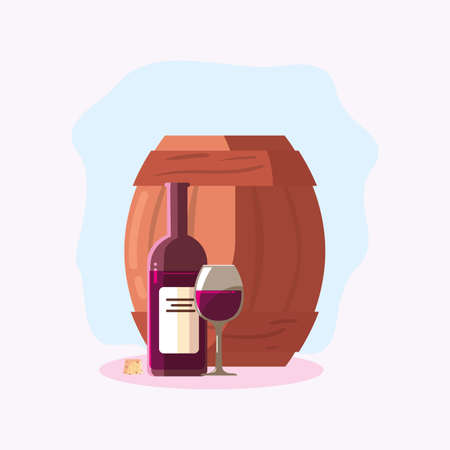 Wine bottle barrel and cup design, Winery alcohol drink beverage restaurant and celebration theme Vector illustration