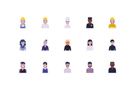 Conjunto de diseño de mujeres y hombres, acciones de trabajadores de personas de diversidad que trabajan trabajos de ocupación servicio de empleado profesional y tema laboral ilustración vectorial