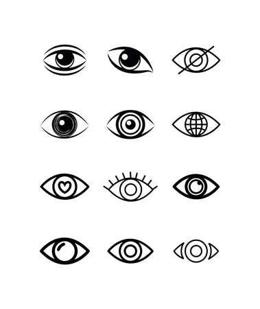 eyes icon set design, View look vision optical human see medicine watch outline and sight theme Vector illustration