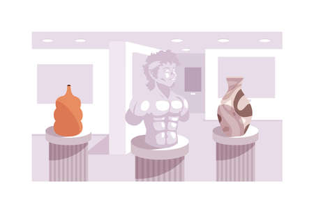 contemporary sculptures exhibition, art gallery vector illustration design