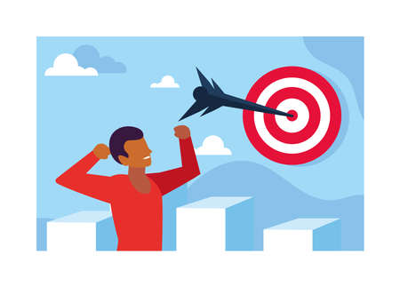 man celebrating and target shooting in background vector illustration design