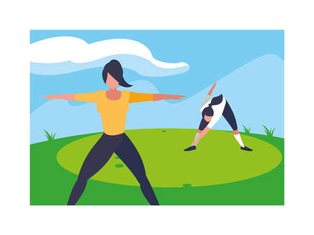 women outdoors practicing yoga with background landscape vector illustration design