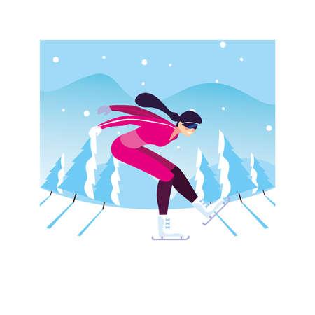 woman ice skating in landscape of winter vector illustration design 일러스트