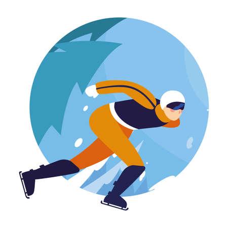man practicing figure skating , ice sport vector illustration design