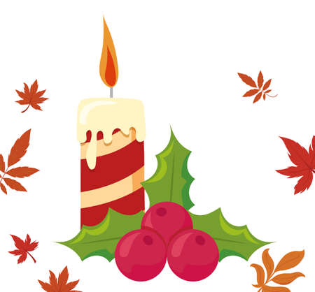Candle and berries of thanksgiving day design, Autumn season holiday greeting and traditional theme Vector illustration