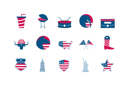 Usa icon set design, United states america independence labor day nation us country and national theme Vector illustration 向量圖像