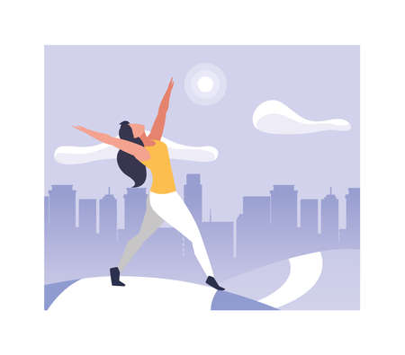 woman outdoors practicing yoga in park in the city vector illustration design