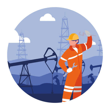 oilman worker on production line petrol refinery vector illustration design