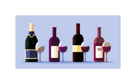 bottle and glass of wine on white background vector illustration design Illusztráció