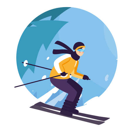 man with mountain ski, extreme winter sport vector illustration design Vecteurs