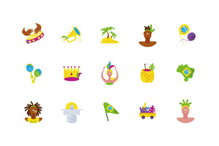Brazilian carnival icon set design, Culture tourism travel south latin america country and traditional theme Vector illustration
