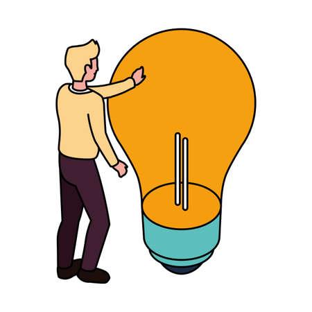 businessman with light bulb on white background vector illustration design 일러스트