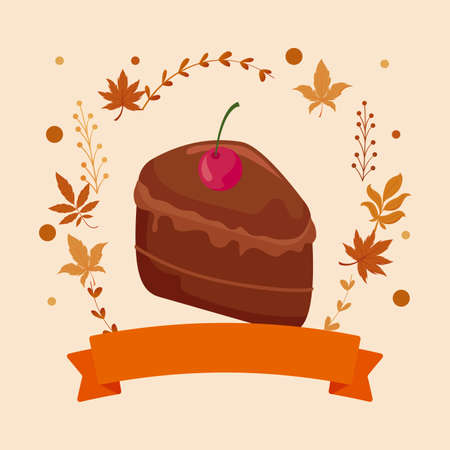 Cake and leaves of thanksgiving day design, Autumn season holiday greeting and traditional theme Vector illustration