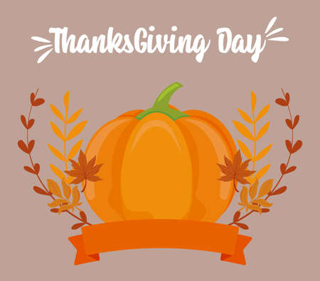Pumpkin and leaves of thanksgiving day design, Autumn season holiday greeting and traditional theme Vector illustration