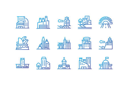 Buildings icon set design, City architecture urban modern downtown contemporary metropolis exterior and construction theme Vector illustration Vettoriali
