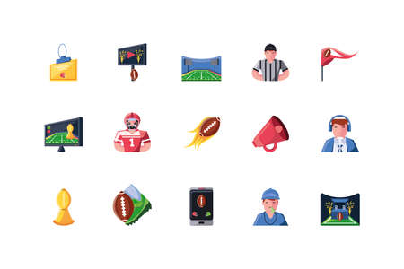 Icon set design, American football super bowl sport hobby competition game training equipment tournement and play theme Vector illustration Vetores