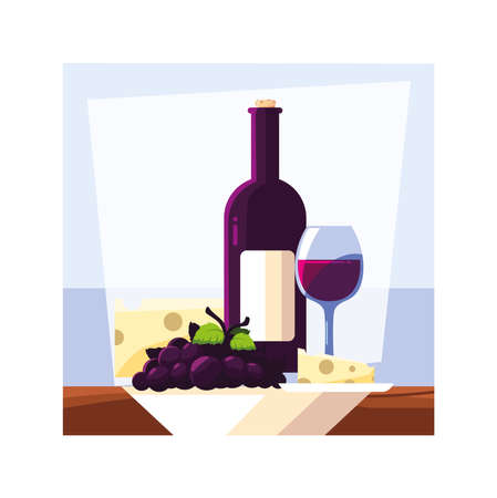 bottle and glass of wine with piece of cheese and grapes vector illustration design