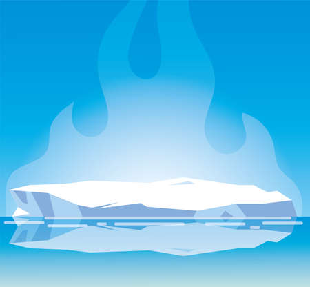 arktische Landschaft mit blauem Himmel und Eisberg, Nordpolvektorillustrationsdesign Vektorgrafik