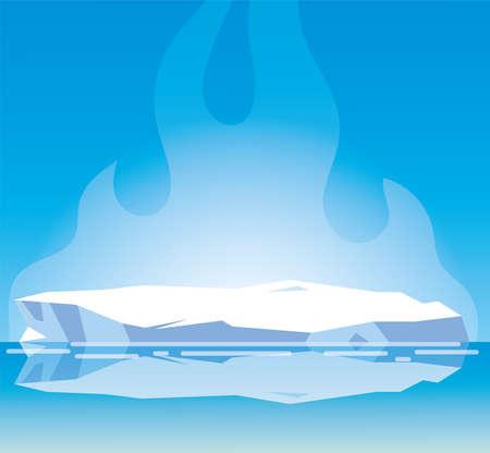 Paisaje ártico con cielo azul e iceberg, diseño de ilustraciones vectoriales del polo norte Ilustración de vector