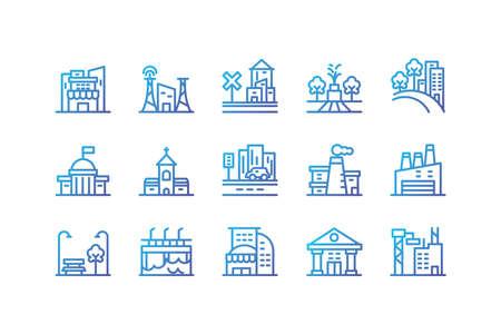 Buildings icon set design, City architecture urban modern downtown contemporary metropolis exterior and construction theme Vector illustration Ilustrace