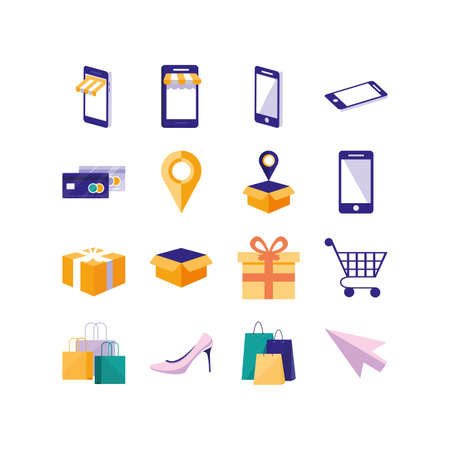 Shopping and ecommerce icon set design of Commerce market store shop retail buy paying banking and consumerism theme Vector illustration 向量圖像