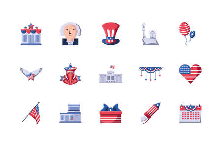 Usa icon set design, United states america independence nation us country and national theme Vector illustration