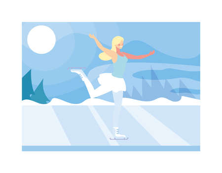 woman ice skating in landscape of winter vector illustration design Ilustracja