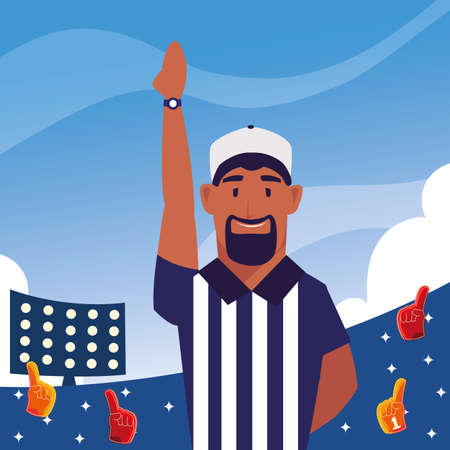 american football referee with his hand up on stadium vector illustration design Illustration