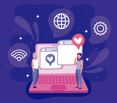 Laptop and women design, Social media multimedia communication digital marketing internet web and connect theme Vector illustration