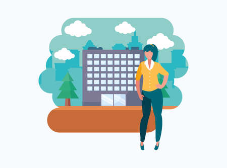 Avatar woman in front of a building design, Girl female person people human and social media theme Vector illustration Illusztráció