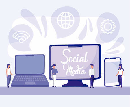 Computer laptop smartphone and people design, Social media multimedia communication digital marketing internet web and connect theme Vector illustration