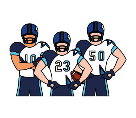 team of players american football , sportsmen with uniform vector illustration design
