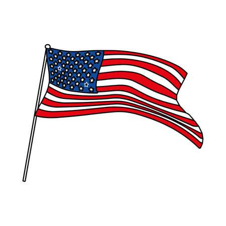 united states flag waving on a stick in white background vector illustration design Векторная Иллюстрация