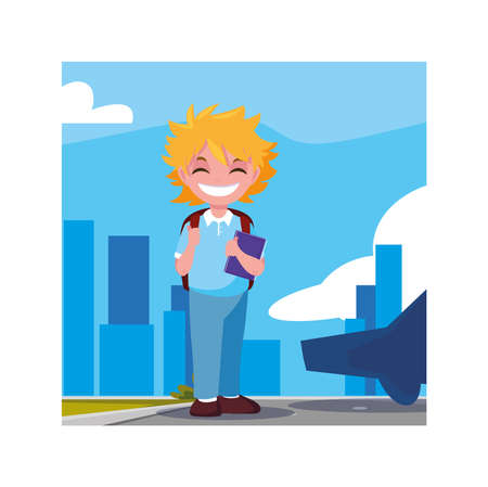 student boy with school suitcase, back to school vector illustration design Archivio Fotografico - 140899286