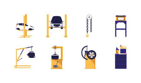 Icon set design, Car repair service maintenance job workshop labor work broken and professional theme Vector illustration Çizim