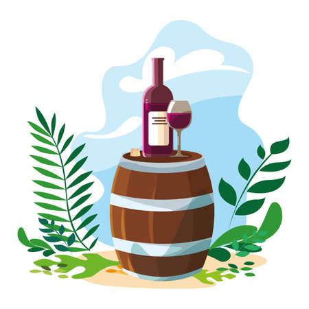 barrel with bottle of wine and background landscape vector illustration design