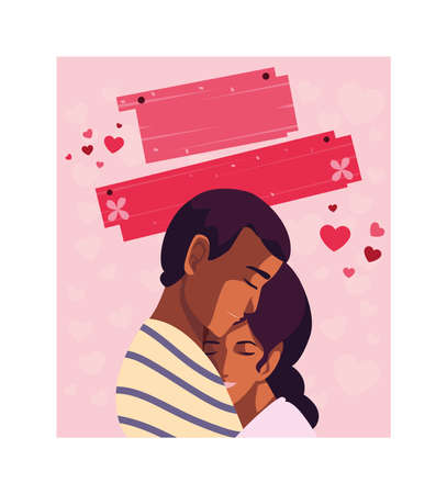 greetings card for valentines day, couple in love vector illustration design 矢量图像