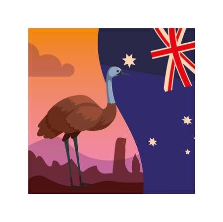 emu with australia flag in the background vector illustration design