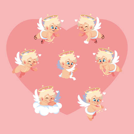 set of cute cupid angels in different poses, valentines day vector illustration design