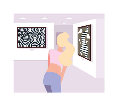 Woman in contemporary art gallery, exhibition visitors viewing modern abstract paintings
