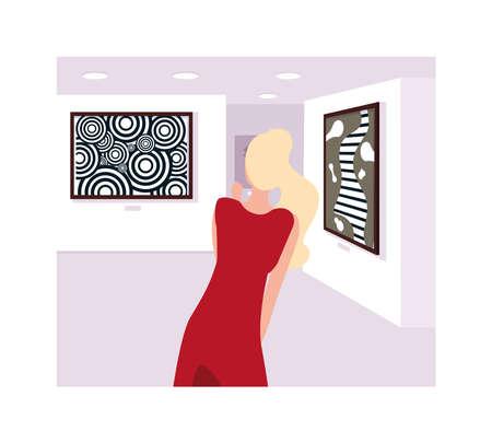 Mujer en la galería de arte contemporáneo, visitantes de la exposición viendo pinturas abstractas modernas