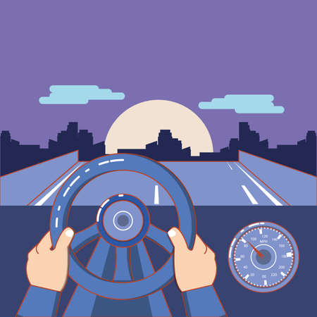 hand on steering wheel and road landscape over purple background, colorful design. vector illustration