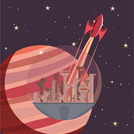 rocket spaceship future city stars galaxy vector illustration Ilustrace
