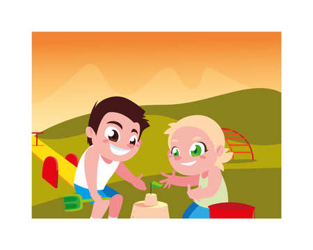 couple of children playing with sand of beach vector illustration design