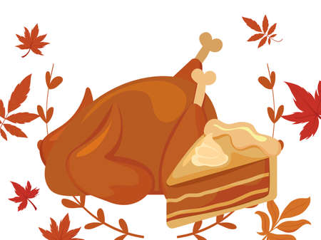 Cake and chicken of thanksgiving day design, Autumn season holiday greeting and traditional theme Vector illustration 일러스트