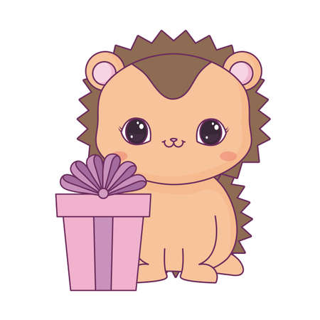cute porcupine animal with gift box vector illustration design